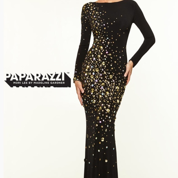 Black And Gold Long Sleeve Prom Dress